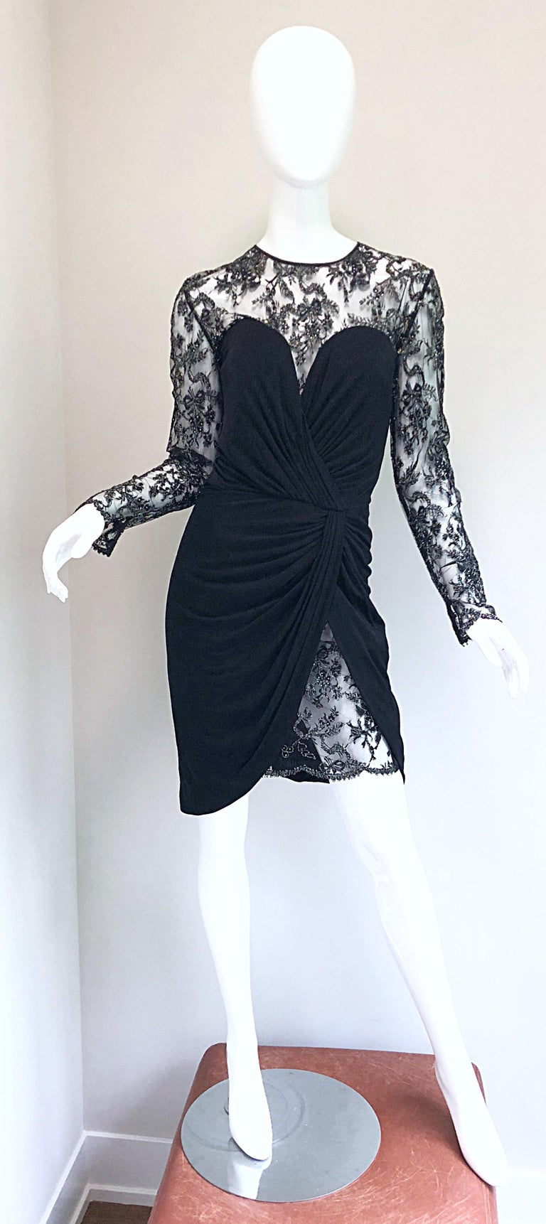 Gorgeous Vintage Vicky Tiel Couture Black Silk Jersey + Lace Rhinestone Dress For Sale 15