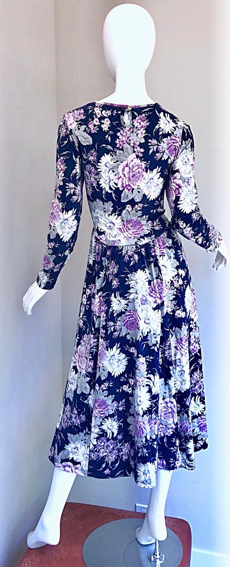 Women's 1990s Laura Ashley Navy Blue + Purple Long Sleeve Cotton Vintage 90s Midi Dress For Sale