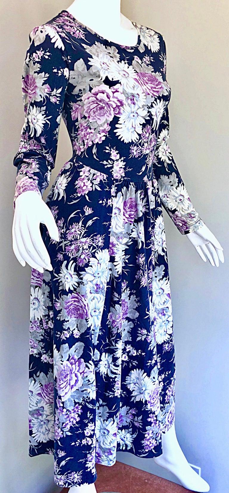 1990s Laura Ashley Navy Blue + Purple Long Sleeve Cotton Vintage 90s Midi Dress For Sale 1