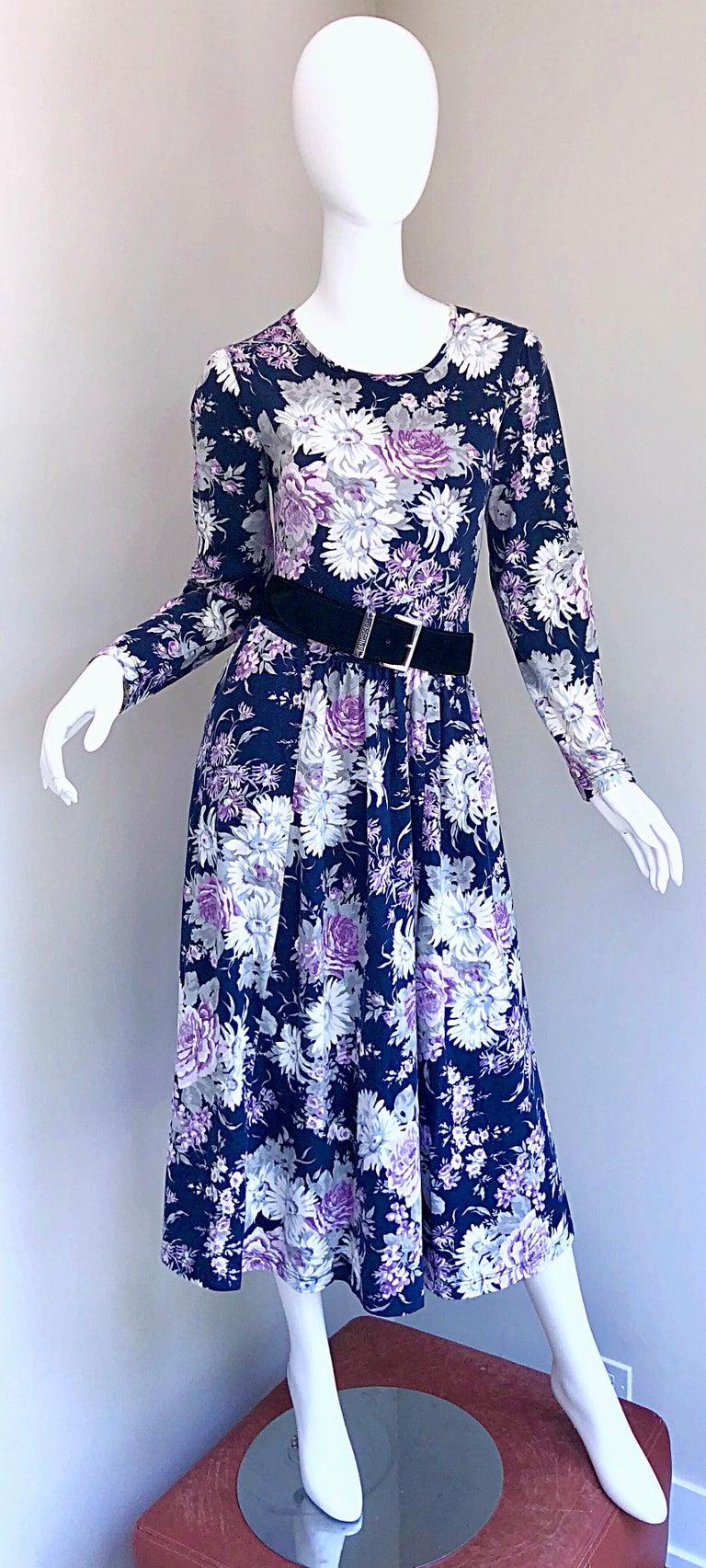 1990s Laura Ashley Navy Blue + Purple Long Sleeve Cotton Vintage 90s Midi Dress For Sale 2