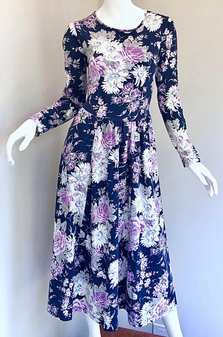 1990s Laura Ashley Navy Blue + Purple Long Sleeve Cotton Vintage 90s Midi Dress For Sale 3