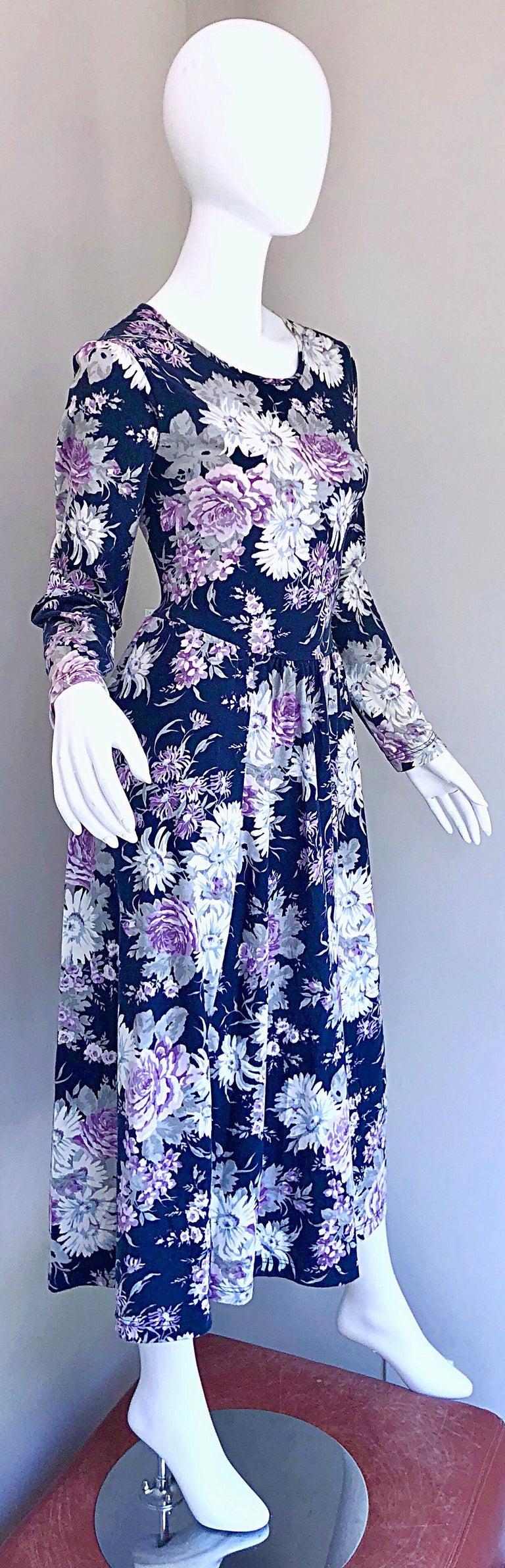 1990s Laura Ashley Navy Blue + Purple Long Sleeve Cotton Vintage 90s Midi Dress For Sale 4