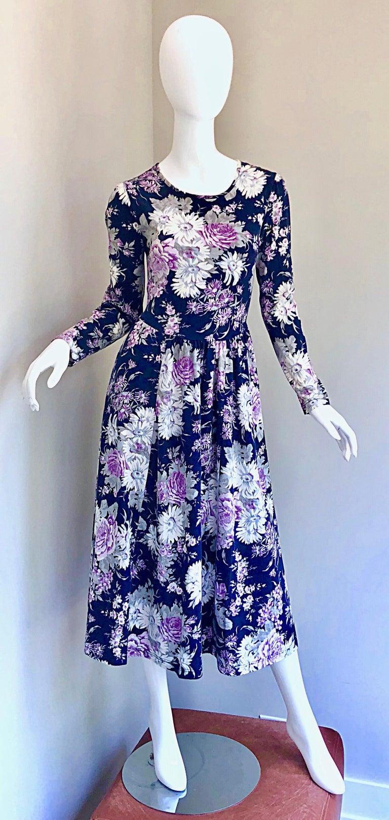 1990s Laura Ashley Navy Blue + Purple Long Sleeve Cotton Vintage 90s Midi Dress For Sale 5