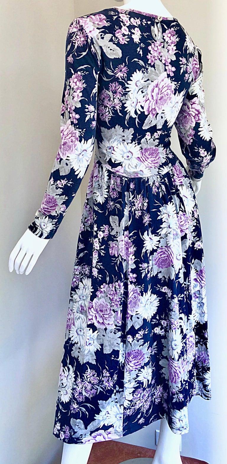 1990s Laura Ashley Navy Blue + Purple Long Sleeve Cotton Vintage 90s Midi Dress For Sale 6