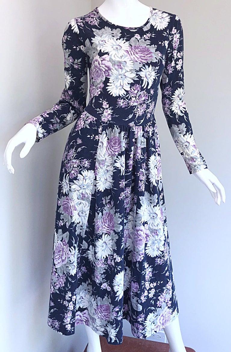 1990s Laura Ashley Navy Blue + Purple Long Sleeve Cotton Vintage 90s Midi Dress For Sale 7
