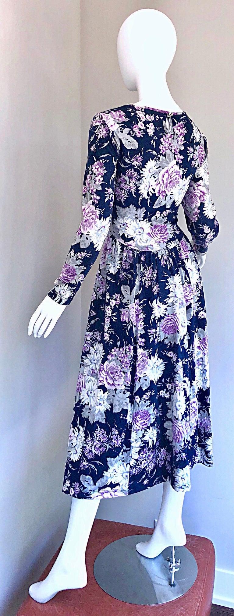 1990s Laura Ashley Navy Blue + Purple Long Sleeve Cotton Vintage 90s Midi Dress For Sale 8
