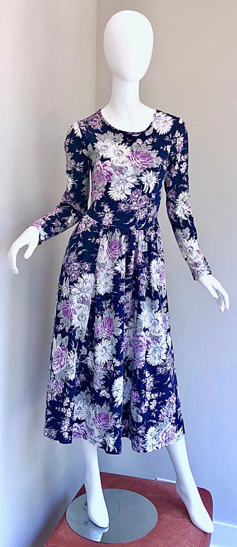 1990s Laura Ashley Navy Blue + Purple Long Sleeve Cotton Vintage 90s Midi Dress For Sale 9