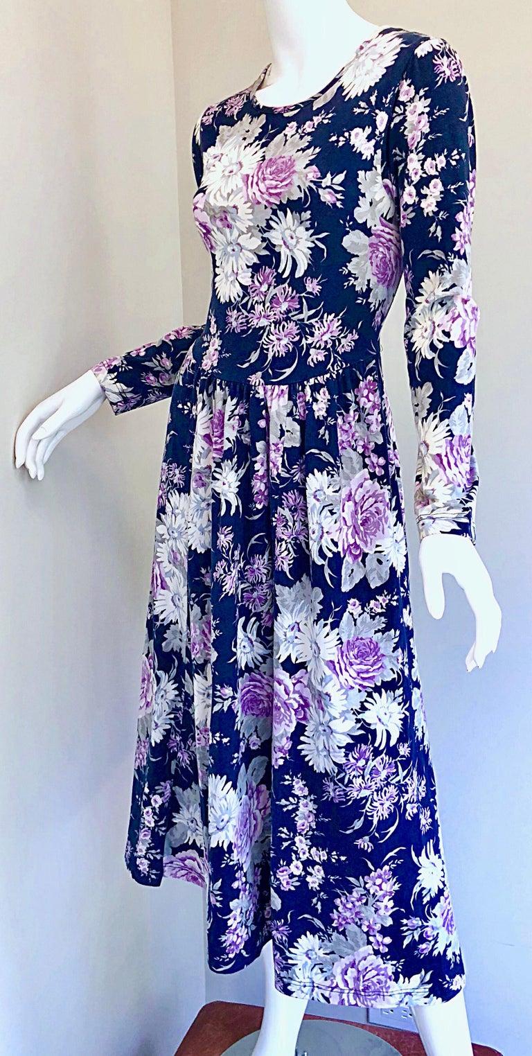 1990s Laura Ashley Navy Blue + Purple Long Sleeve Cotton Vintage 90s Midi Dress For Sale 10