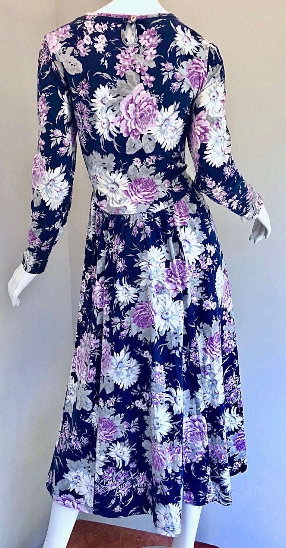 1990s Laura Ashley Navy Blue + Purple Long Sleeve Cotton Vintage 90s Midi Dress For Sale 11