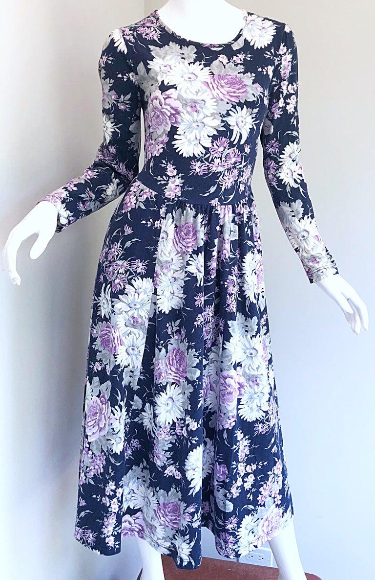 1990s Laura Ashley Navy Blue + Purple Long Sleeve Cotton Vintage 90s Midi Dress For Sale 12