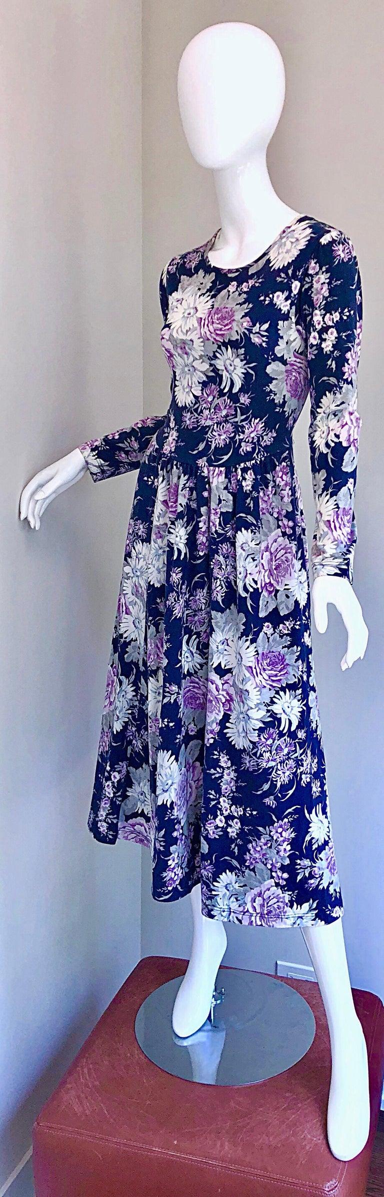 1990s Laura Ashley Navy Blue + Purple Long Sleeve Cotton Vintage 90s Midi Dress For Sale 13