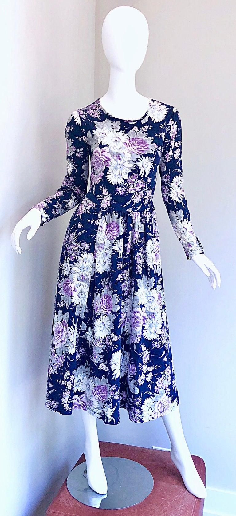 1990s Laura Ashley Navy Blue + Purple Long Sleeve Cotton Vintage 90s Midi Dress For Sale 14