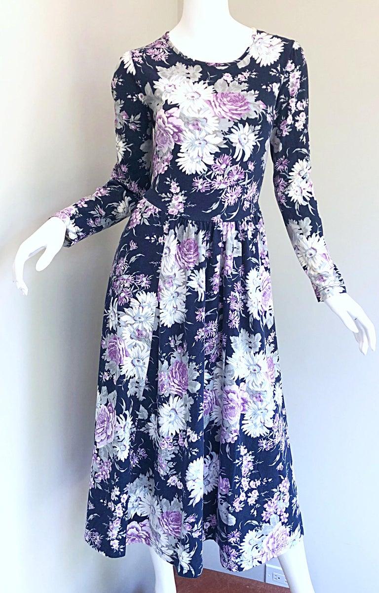 1990s Laura Ashley Navy Blue + Purple Long Sleeve Cotton Vintage 90s Midi Dress For Sale 15