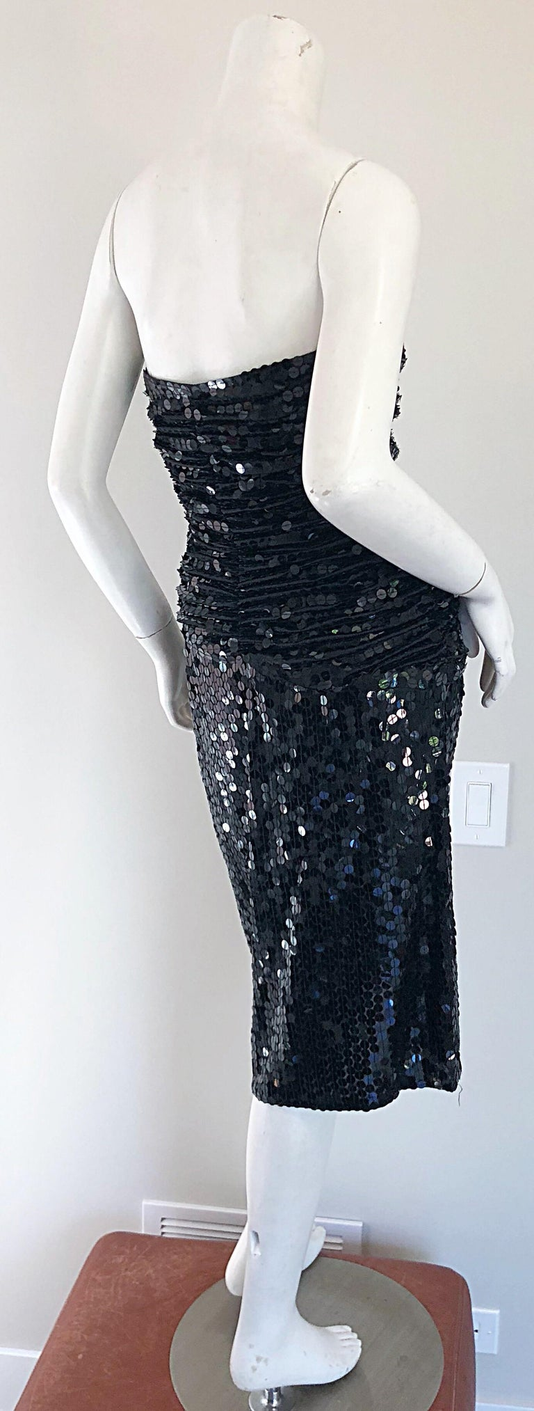 Vintage Vicky Tiel Couture Blac Silk Sequined Strapless Cocktail Dress In Excellent Condition For Sale In Chicago, IL