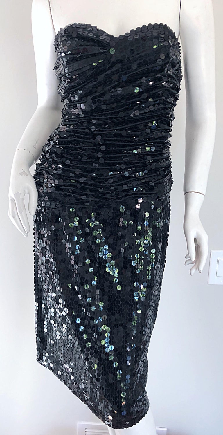 Women's Vintage Vicky Tiel Couture Blac Silk Sequined Strapless Cocktail Dress For Sale