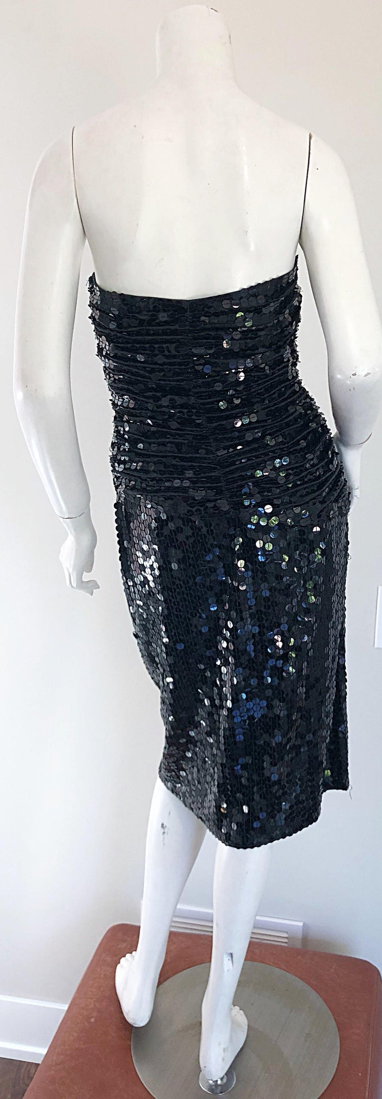 Vintage Vicky Tiel Couture Blac Silk Sequined Strapless Cocktail Dress For Sale 1