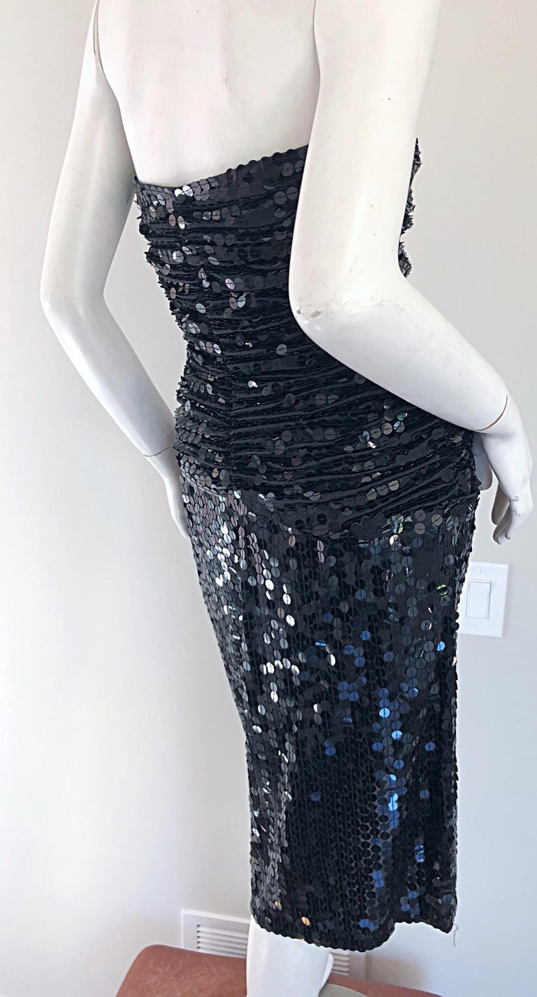 Vintage Vicky Tiel Couture Blac Silk Sequined Strapless Cocktail Dress For Sale 2