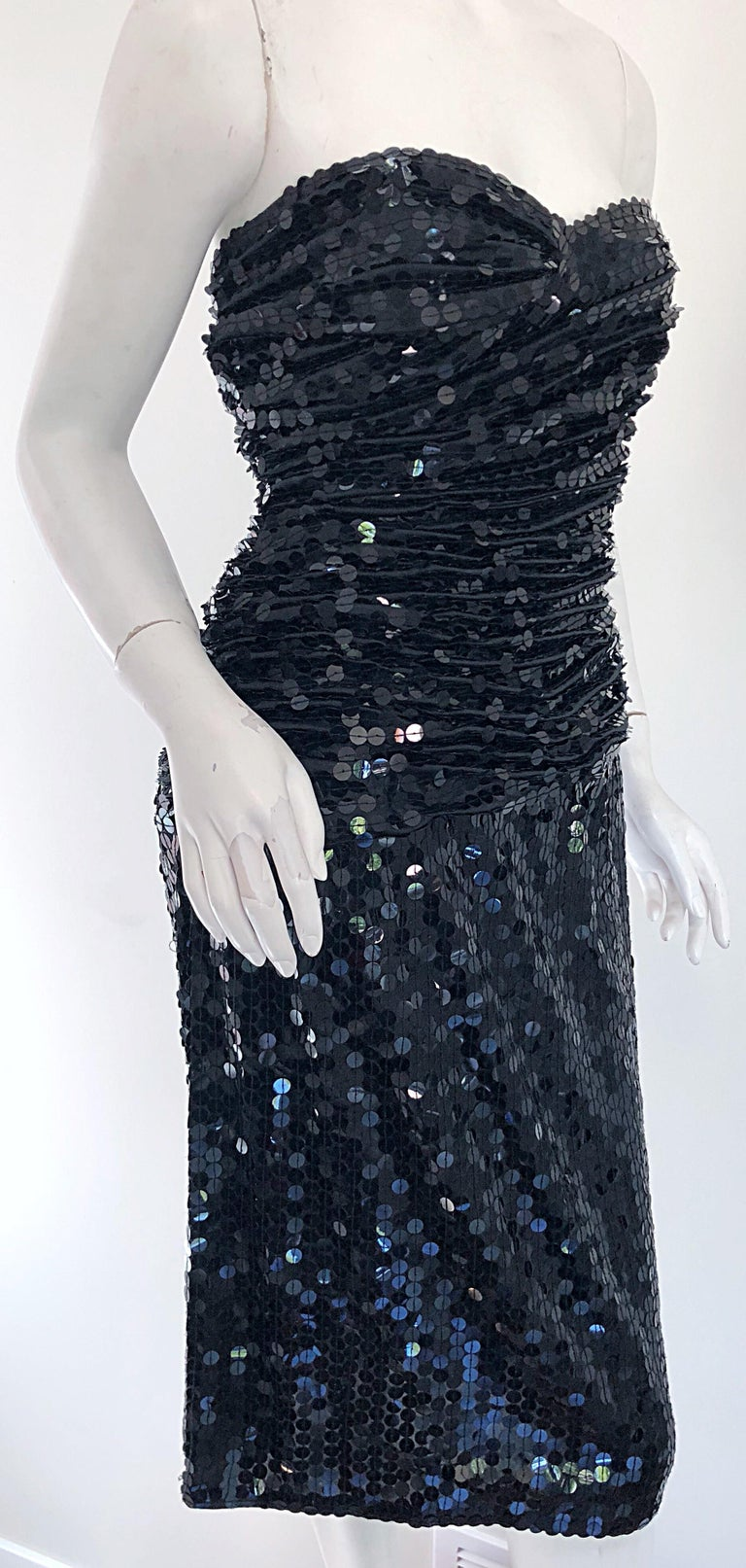 Vintage Vicky Tiel Couture Blac Silk Sequined Strapless Cocktail Dress For Sale 3