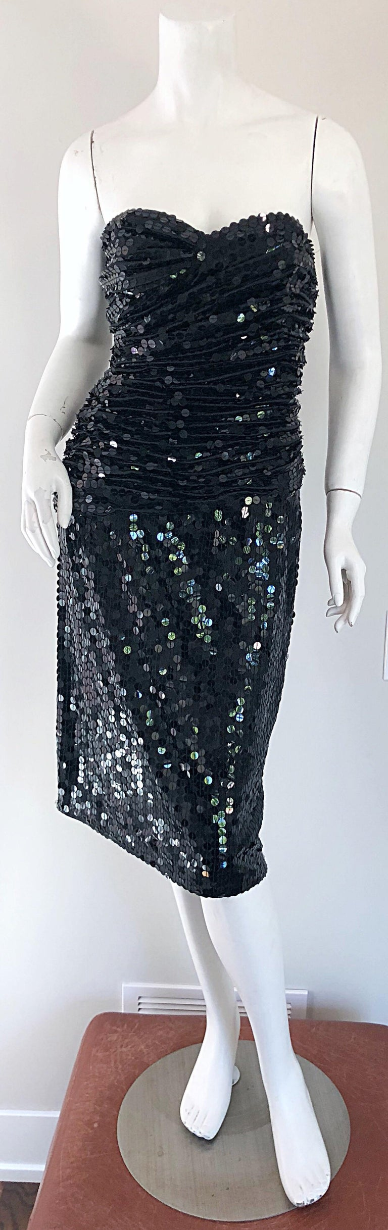 Vintage Vicky Tiel Couture Blac Silk Sequined Strapless Cocktail Dress For Sale 4