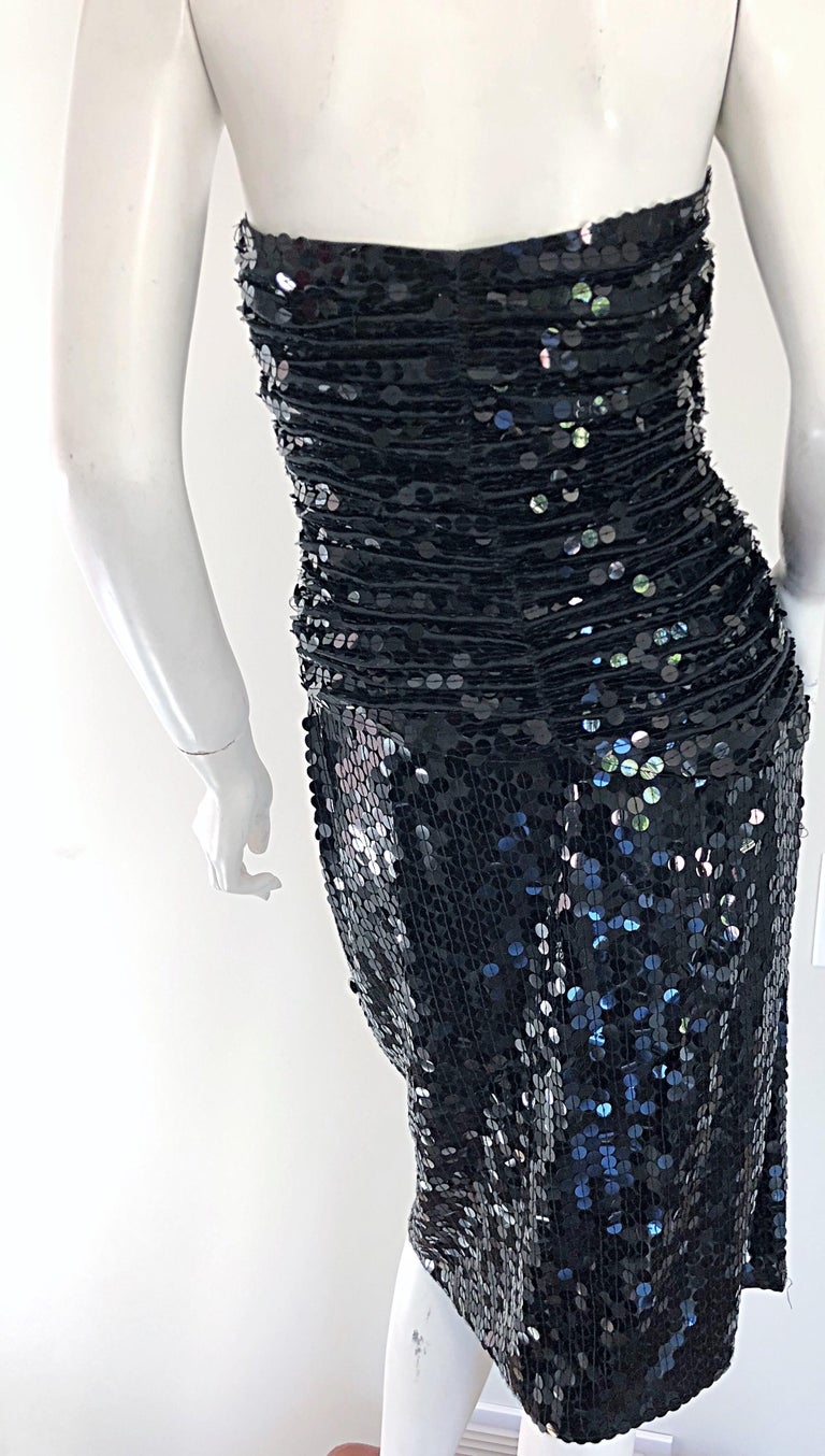 Vintage Vicky Tiel Couture Blac Silk Sequined Strapless Cocktail Dress For Sale 5