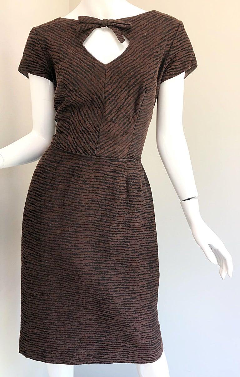 3e88b6984c 1950s Lord   Taylor Brown + Black Zebra Print Pique Cotton 50s Vintage Dress  In Excellent