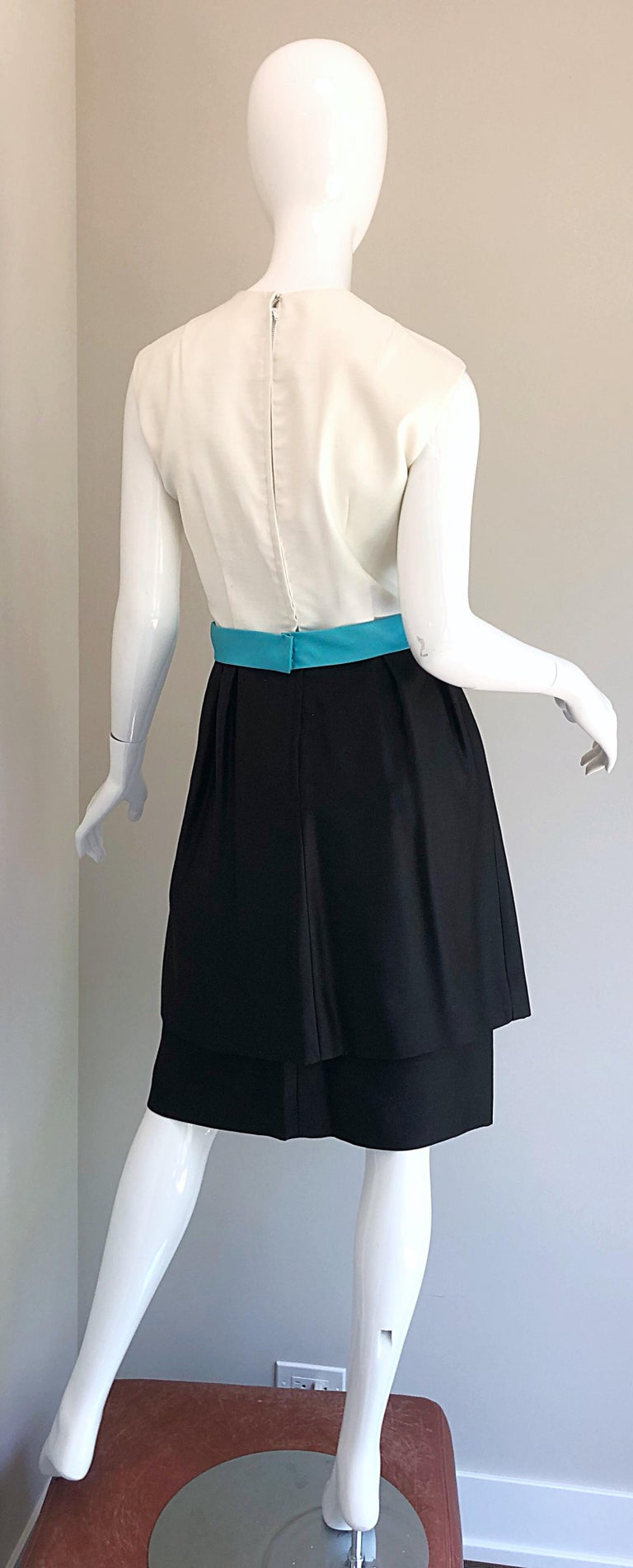 Women's 1950s B. Altman Black and White + Turquoise Blue Vintage 50s Silk Cocktail Dress For Sale