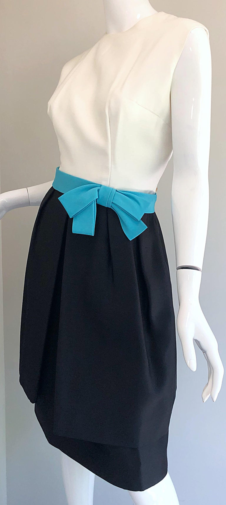 1950s B. Altman Black and White + Turquoise Blue Vintage 50s Silk Cocktail Dress For Sale 1