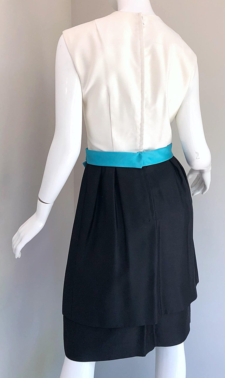 1950s B. Altman Black and White + Turquoise Blue Vintage 50s Silk Cocktail Dress For Sale 4