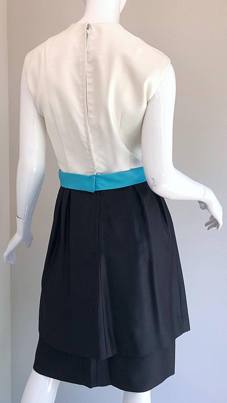 1950s B. Altman Black and White + Turquoise Blue Vintage 50s Silk Cocktail Dress For Sale 6