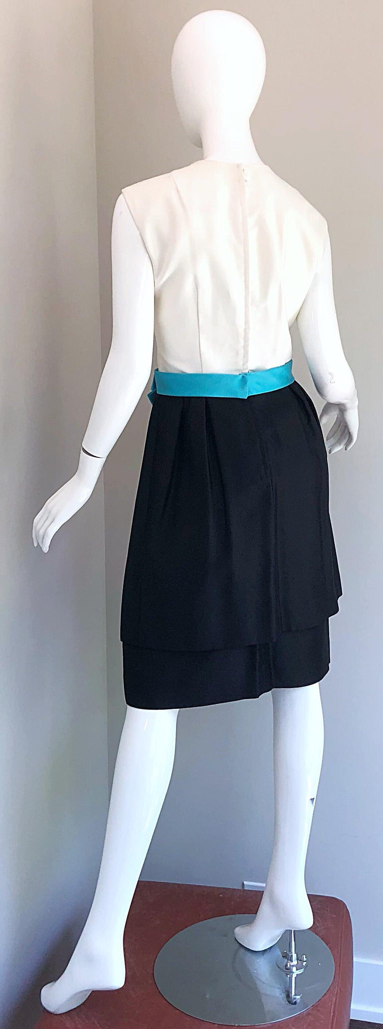 1950s B. Altman Black and White + Turquoise Blue Vintage 50s Silk Cocktail Dress For Sale 7