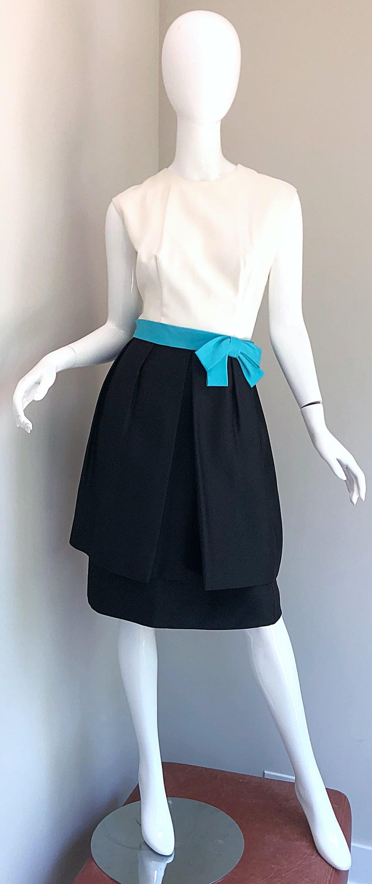 1950s B. Altman Black and White + Turquoise Blue Vintage 50s Silk Cocktail Dress For Sale 8