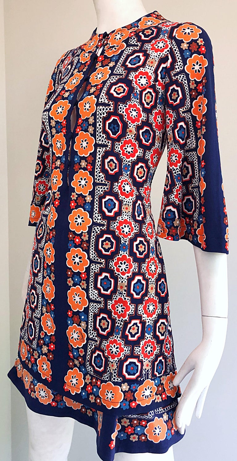 1960s Armonia Italian Jersey Bell Sleeve Vintage 60s Mod Tunic + Mini Skirt In Excellent Condition For Sale In Chicago, IL