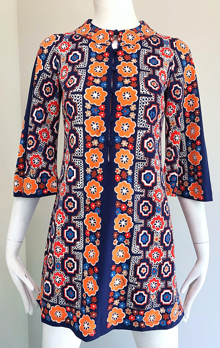 Women's 1960s Armonia Italian Jersey Bell Sleeve Vintage 60s Mod Tunic + Mini Skirt For Sale