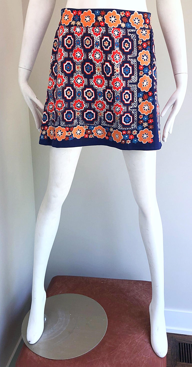1960s Armonia Italian Jersey Bell Sleeve Vintage 60s Mod Tunic + Mini Skirt For Sale 1