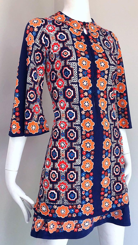 1960s Armonia Italian Jersey Bell Sleeve Vintage 60s Mod Tunic + Mini Skirt For Sale 2
