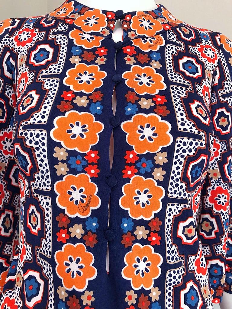 1960s Armonia Italian Jersey Bell Sleeve Vintage 60s Mod Tunic + Mini Skirt For Sale 3