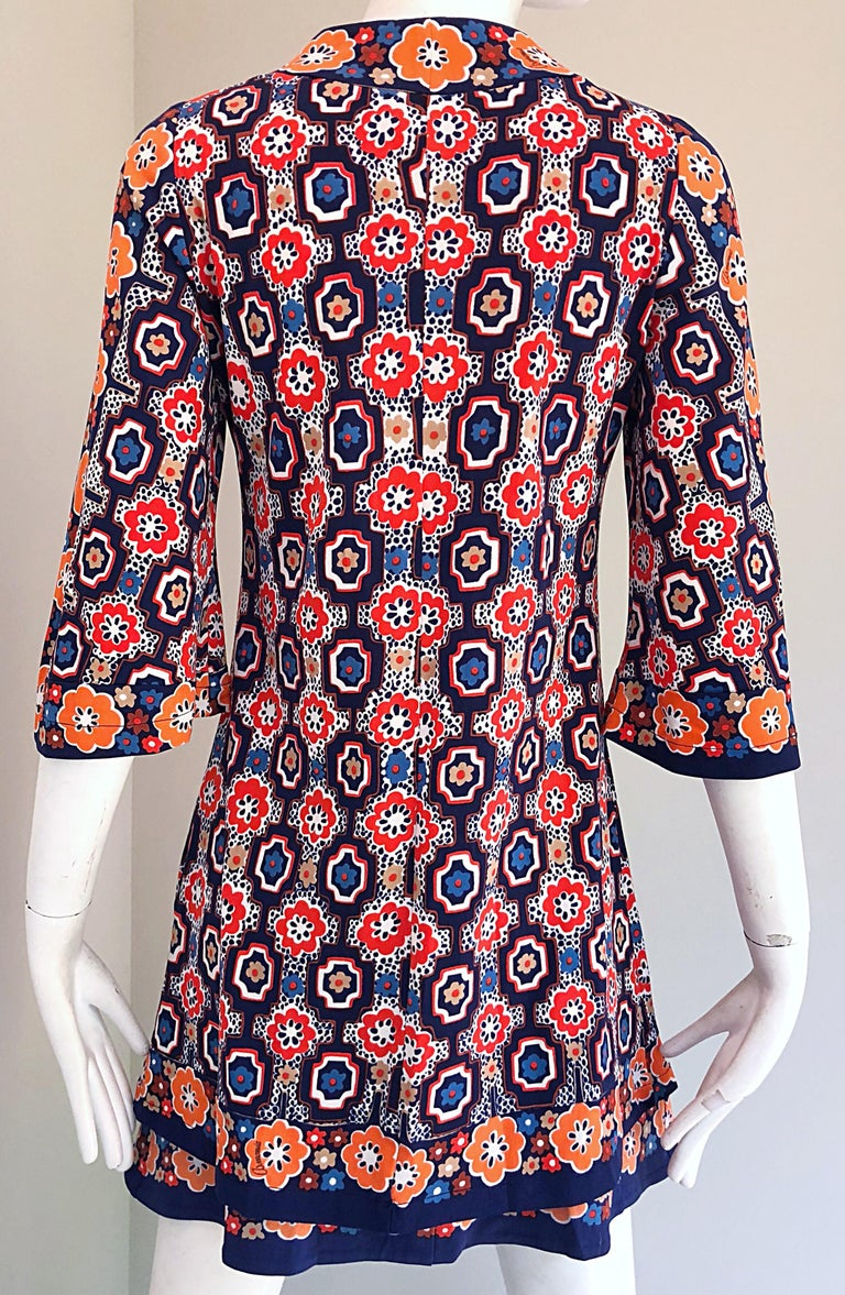 1960s Armonia Italian Jersey Bell Sleeve Vintage 60s Mod Tunic + Mini Skirt For Sale 4