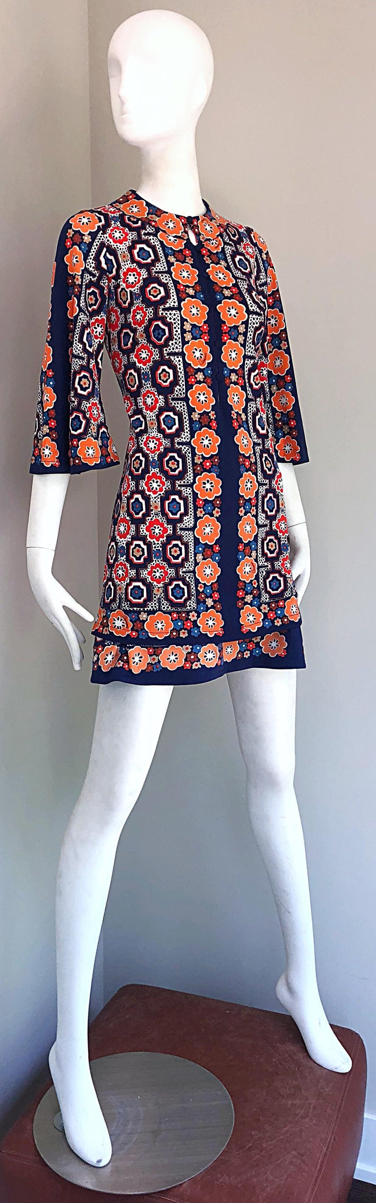 1960s Armonia Italian Jersey Bell Sleeve Vintage 60s Mod Tunic + Mini Skirt For Sale 5