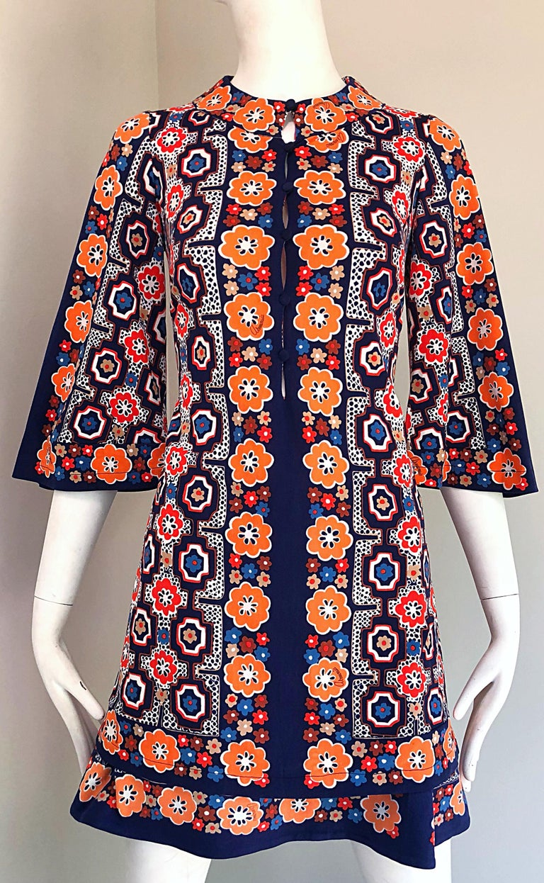 1960s Armonia Italian Jersey Bell Sleeve Vintage 60s Mod Tunic + Mini Skirt For Sale 6
