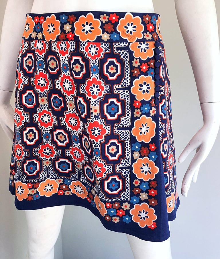 1960s Armonia Italian Jersey Bell Sleeve Vintage 60s Mod Tunic + Mini Skirt For Sale 7