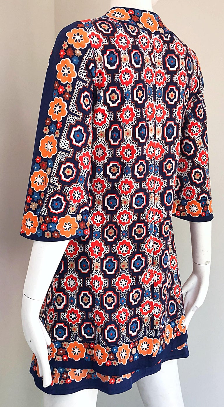 1960s Armonia Italian Jersey Bell Sleeve Vintage 60s Mod Tunic + Mini Skirt For Sale 8