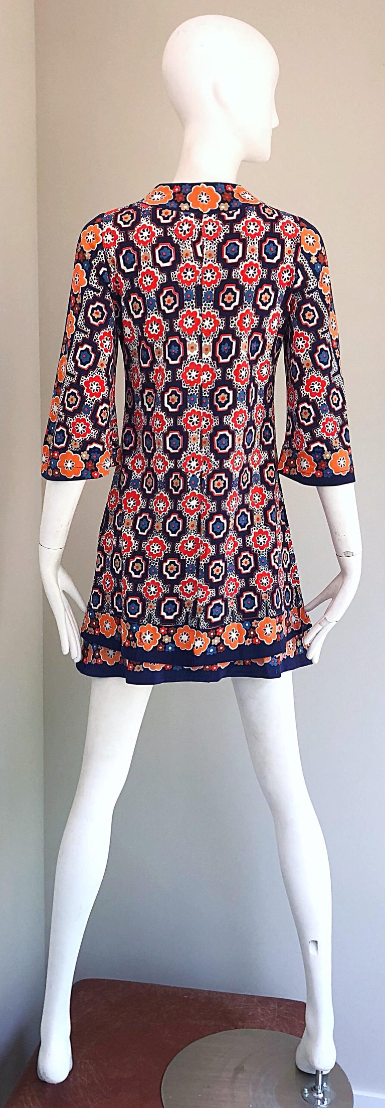 1960s Armonia Italian Jersey Bell Sleeve Vintage 60s Mod Tunic + Mini Skirt For Sale 9