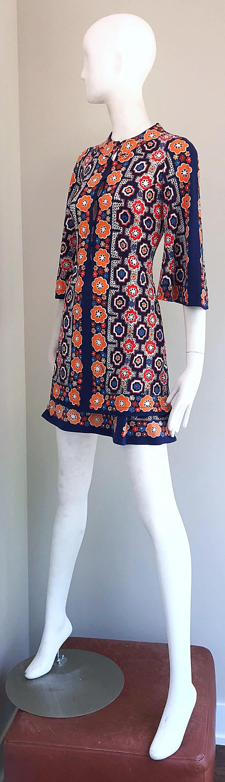 1960s Armonia Italian Jersey Bell Sleeve Vintage 60s Mod Tunic + Mini Skirt For Sale 10