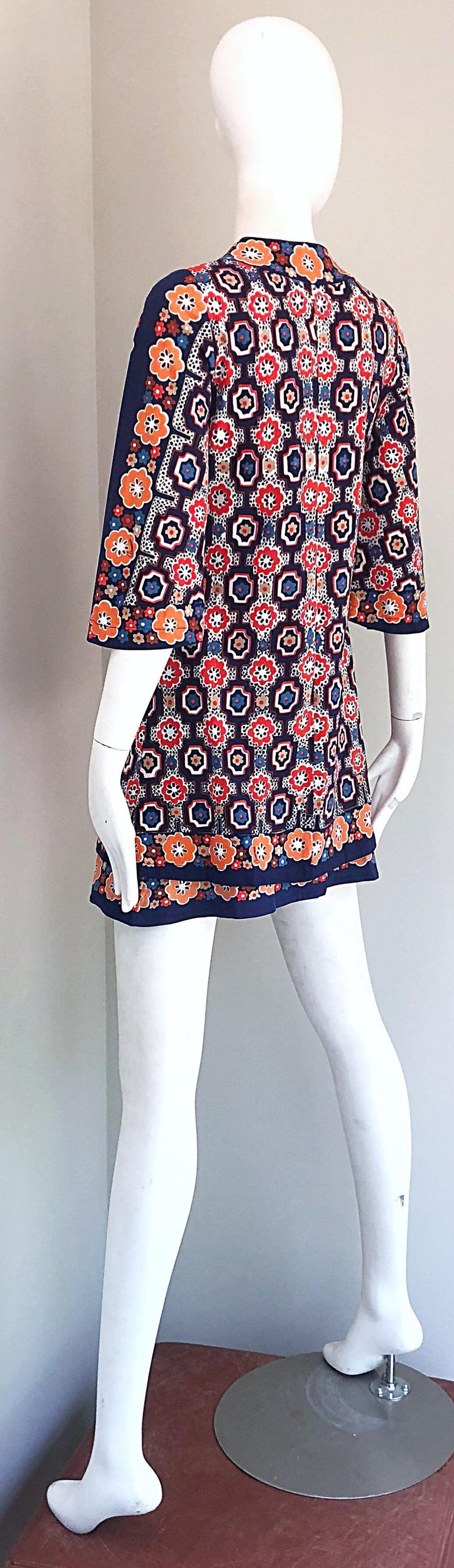 1960s Armonia Italian Jersey Bell Sleeve Vintage 60s Mod Tunic + Mini Skirt For Sale 11