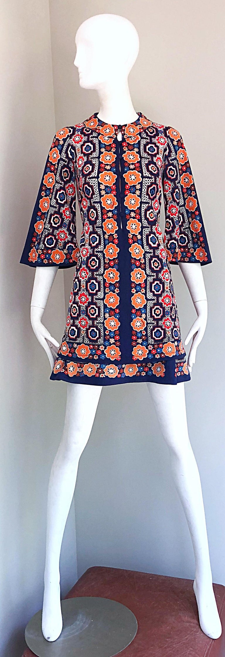 1960s Armonia Italian Jersey Bell Sleeve Vintage 60s Mod Tunic + Mini Skirt For Sale 12