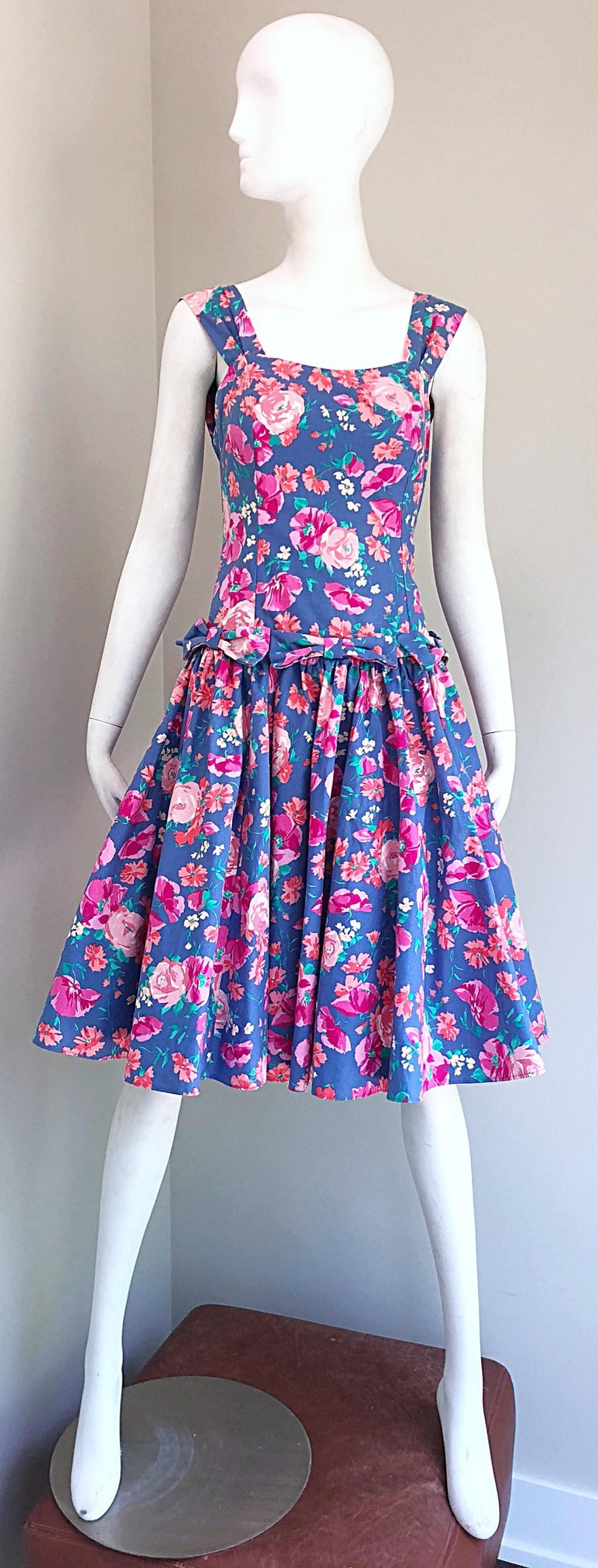 1980s Laura Ashley Blue Pink Cotton Flower Fit N Flare Vintage