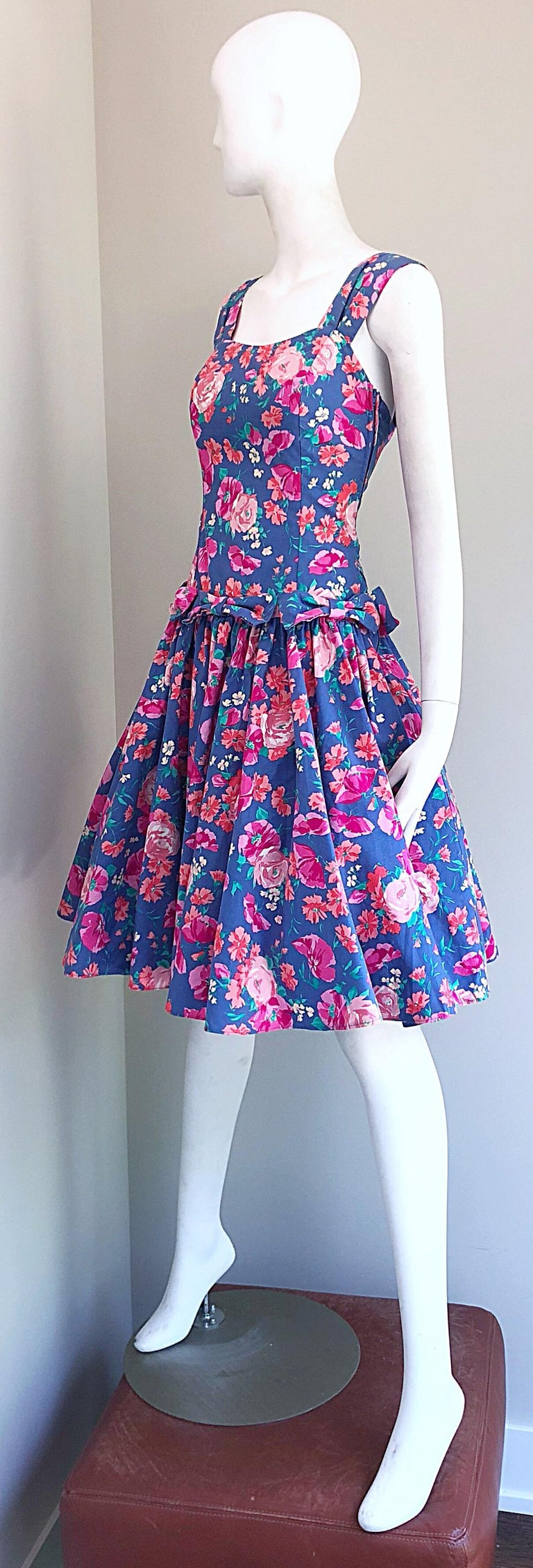 1980s Laura Ashley Blue Pink Cotton Flower Fit N Flare