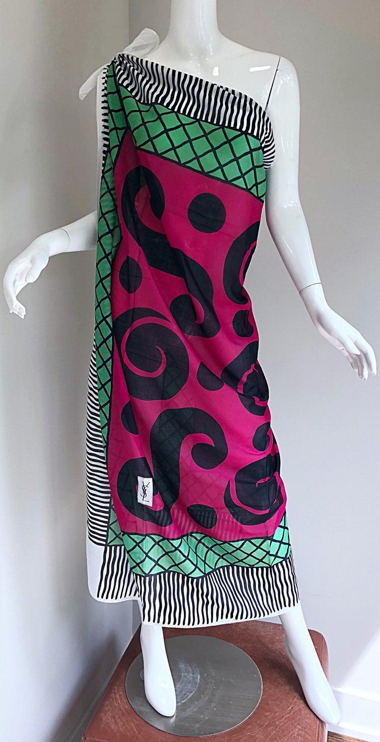 Vintage Yves Saint Laurent Iconic YSL Jumbo 55 x 55 Cotton Shawl Parero Dress For Sale 4