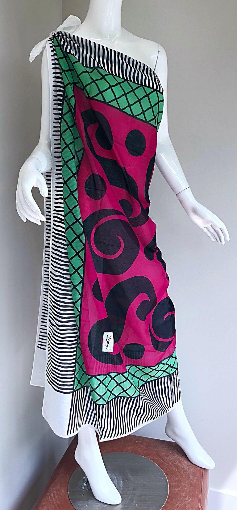 Vintage Yves Saint Laurent Iconic YSL Jumbo 55 x 55 Cotton Shawl Parero Dress For Sale 5
