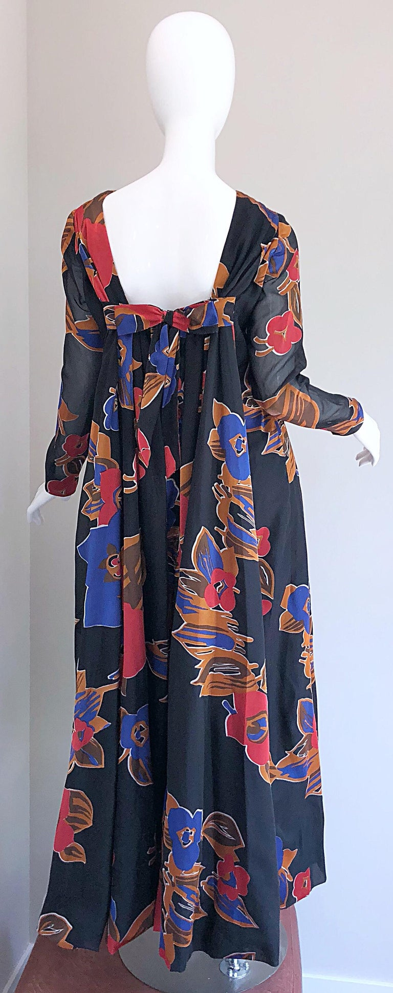 1960s John Boyle Bishop Black + Brown + Red Abstract Trained 60s Gown Maxi Dress In Excellent Condition For Sale In Chicago, IL